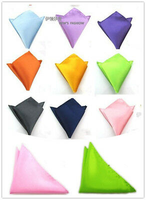 Men Silk Satin Pocket Square Hankerchief Hanky Plain Solid Color Wed Party KE UK