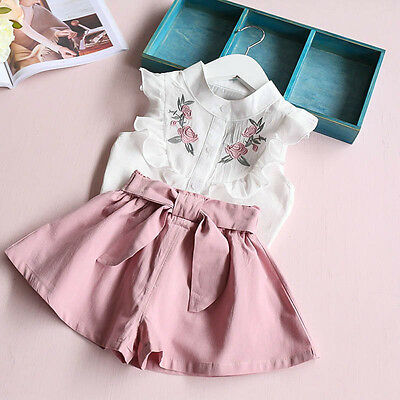Toddler Kid Baby Girl Clothes Floral Embroidery Shirt Tops Belt Pants Outfit Set