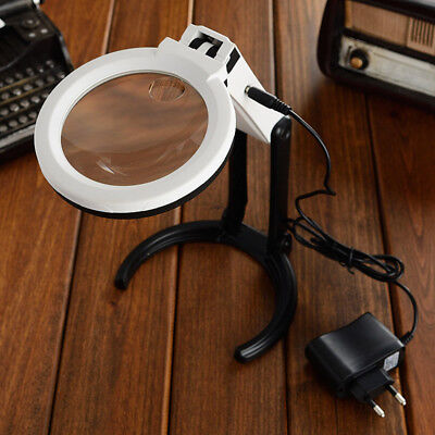 Large Magnifying Glass With Light LED LAMP Magnifier Folding Stand Table EU Plug