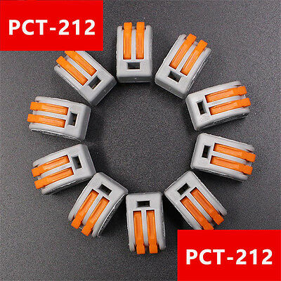 10PCS PCT-212 Fast Cable Push in 2 Port Wire Quick Connector Safe Terminal Block