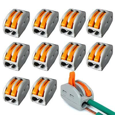10XPCT-212 2 Port Genuine Wago Spring Lever Cable Wire TerminalL Connector Block