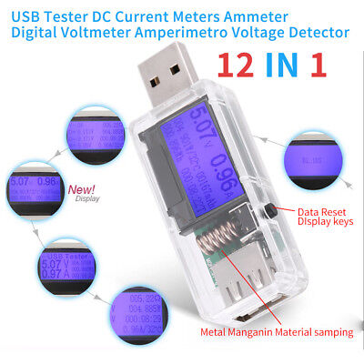 12 in1 USB Tester DC Current Meter Ammeter Digital Voltmeter Voltage Detector im