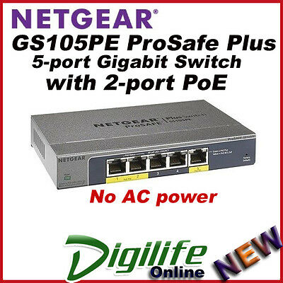 Netgear GS105PE ProSafe Plus 5-port Gigabit Switch with 2-port PoE Pass-thru