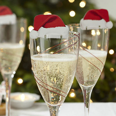 10pcs Xmas Christmas Holiday Hats Champagne Wine Glass Caps Party Decorations C