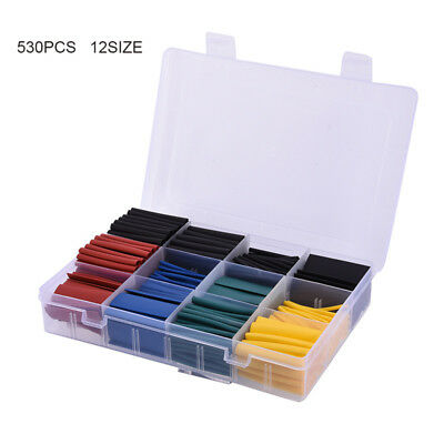 530Pcs Ratio 2:1 Heat Shrink Tubing Electrical Wire Cable Tube Sleeving Wrap Kit