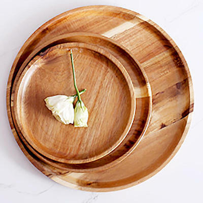 Natural Wood Serving Tray Tea Food Server Dishes Platter Round Wooden Plate
