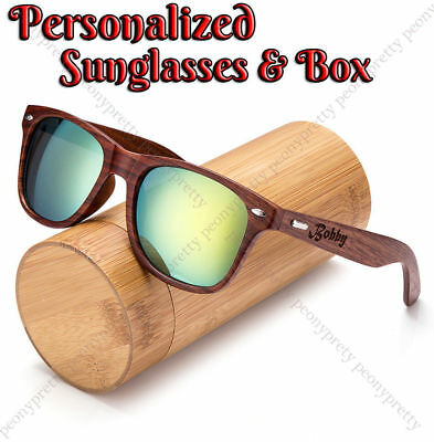 HOT Personalized Engraving Walnut Wood Mirrored UV400 Sunglasses Groomsmen Gift