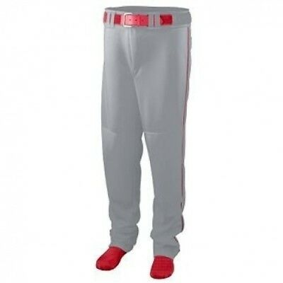 Youth Series Baseball/Softball Pant with Piping - GREY and RED - LARGE. Augusta