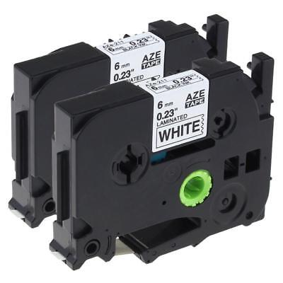 2pk Label Tape Compatible for Brother TZe-211 TZ211 P-Touch Black on White TZe
