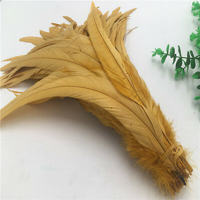 2017 Hot! Beautiful 10-100pcs (Gold)Rooster tail feathers 12-14inches/30-35cm