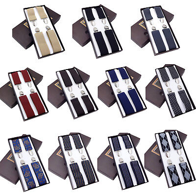 Fashion Suspenders Men's clip-on x back Steampunk Costume Tux Dance Prom Cosplay