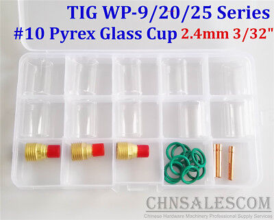 """26 pcs TIG Welding  Gas Lens #10 Pyrex Glass Cup Kit for WP-9/20/25 2.4mm 3/32"""""""
