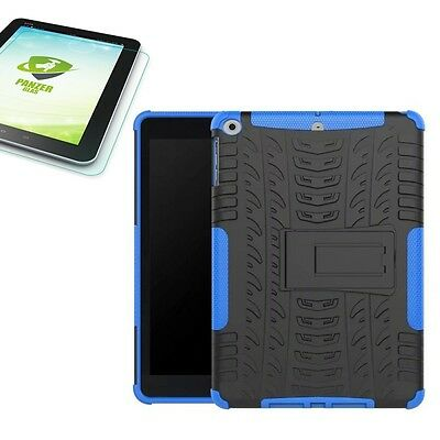 Hybrid Outdoor Cover Blue for Apple Ipad 9.7 2017 Cover+H9 Tempered Glass Case