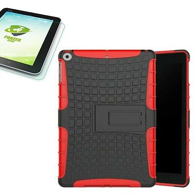 Hybrid Outdoor Case Red for Apple Ipad 9.7 2017 Cover+0.4 H9 Tempered Glass Case