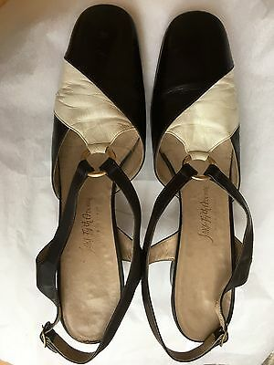 Vintage 60s Saks 5th Avenue Two-Tone Sling Back/Court Shoes UK7 Narrow AA