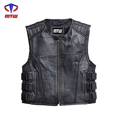 Swat Leather Vest Street Style Motorbike Swat Leather Vest FREE HAND FREE GIFT