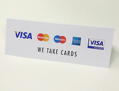 IZETTLE / CREDIT CARDS SIGNS - WE TAKE CARD PAYMENTS Visa Amex Mastercard