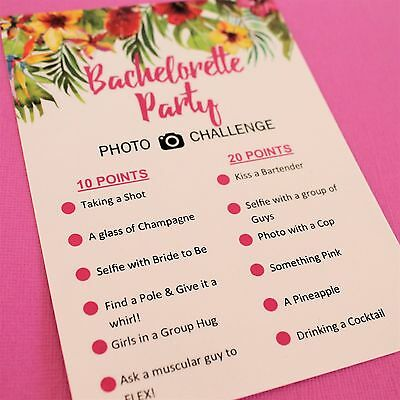 Topical Bachelorette Photo Challenge Scavenger Hunt Hens Hen Party Game Cards