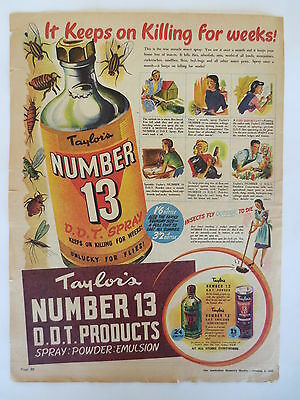 Vintage advertising original 1940s Australian ad TAYLOR'S No 13 DDT INSECT SPRAY