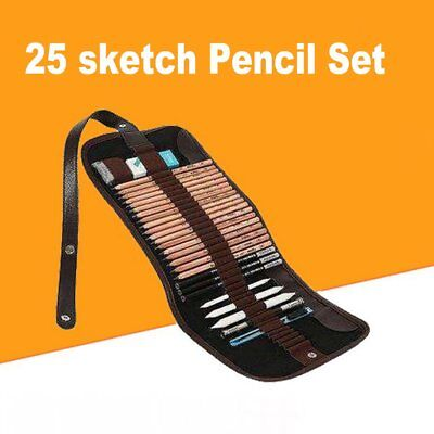 25pcs Sketch Pencil Set Charcoal Drawing Pencil With Sketch Painting Canvas GT