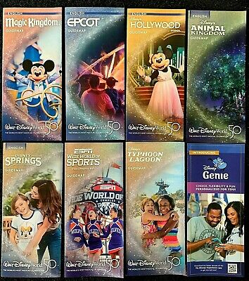 NEW 2019 Walt Disney World Theme Park Guide Maps - 8 Current maps + BONUS !!