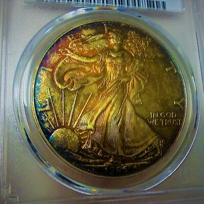 1996 American Silver Eagle Pcgs Ms67  Colorful Toned Gem