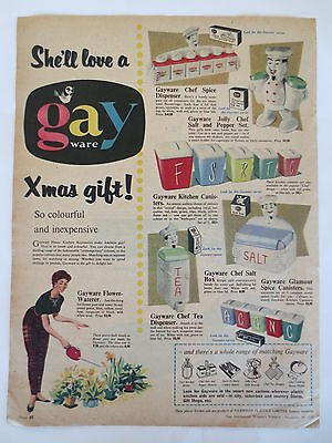 Vintage advertising original 1950s Australian ad GAYWARE canisters kitchenware