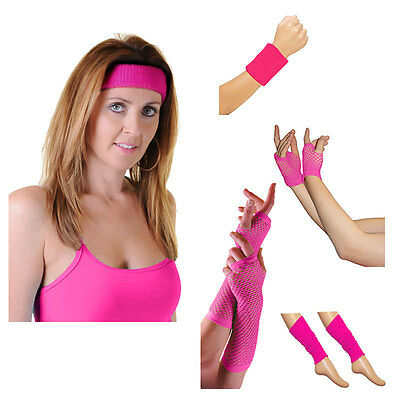 Womens Neon Pink Headband, Wristband, Gloves Legwarmers Dance Party Accessories