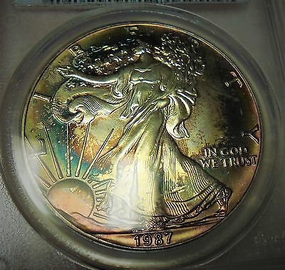 1987 American Silver Eagle Pcgs Ms65 Luminous Target Toned Both Sides
