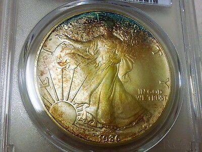1986 American Silver Eagle Pcgs Ms68 Beautifully Toned Gem