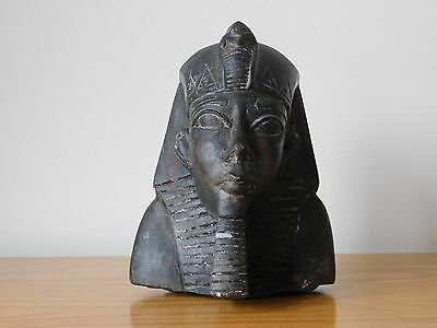 Antique Egyptian Egypt Tutankhamun Pharaoh Carved Black Bust Figure
