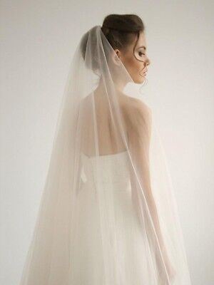 Hand Made 2m Wedding Bridal Veil Cathedral With Comb Clear Cut Veils