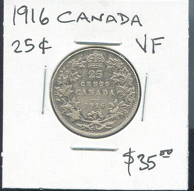 Canada - Beautiful George V Silver 25 Cents, 1916