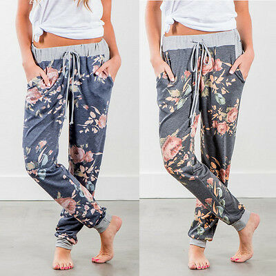 Women Casual Loose Floral Printed Wrap Waist Pants YOGA Exercise Jogger Trousers