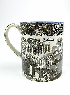 Antique English Porcelain Tankard Mug Black White Asian Transferware Blue Rim
