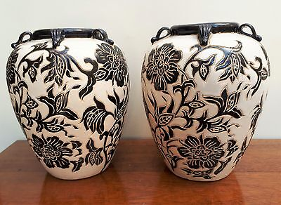 Pair of Asian/Oriental Black & White Floral Bulbous Sgraffito Vases