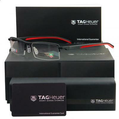 Tag Heuer TH 0821 012 Automatic Matt Black & Red Half Rim Eyeglasses Frames S 56