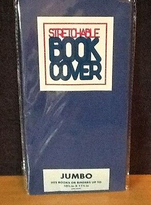 JUMBO Stretchable Fabric Book Cover Solid Blue - New