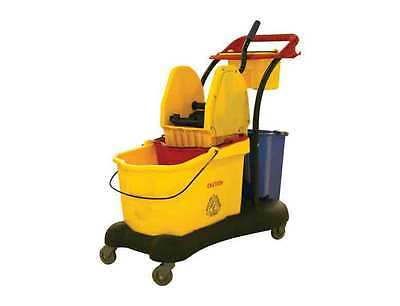 80 Litre Mopping Trolley Side Press 2 Buckets and Wringer Yellow Multi Function