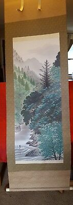Large Rare Fine Chinese Scroll Hand Painting Landscape Marked
