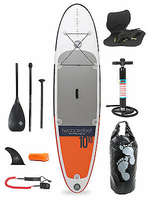 """Sport Air 10'10 x 4"""" Inflatable Paddle Board SUP + Deluxe Package Two Bare Feet"""