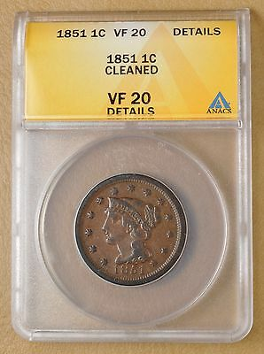 1851 Braided Hair Large Cent ANACS VF20 Details #