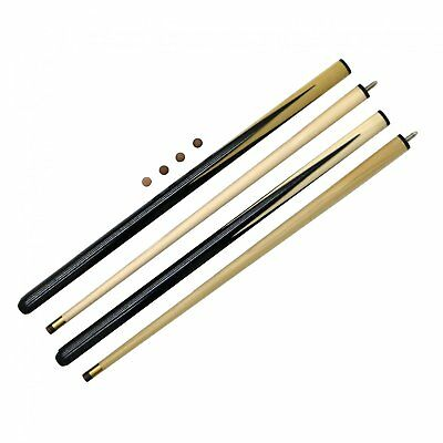 """NEW! 2x Kids Small 36"""" Pool / Snooker Cues with Spare Tips"""