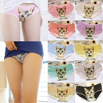 Fashion Women 3D Printed Cat Briefs Cotton Underwear Ladies Panties for Gift