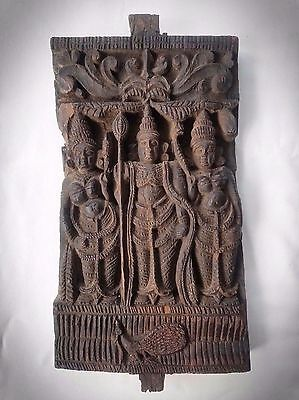 Early Antique India Relief Carved Wooden Hindu Temple Fragment Panel w/ Peacock