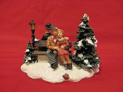 Park Bench by Norman Rockwell Figurine Christmas Holiday Village VERY NICE