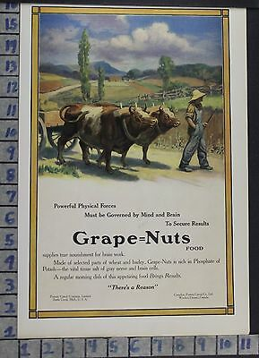 1912 Post Grape Nuts Cow Farmer Battle Creek Animal Nature Vintage Ad  Dh17