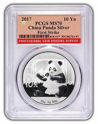 2017 1 oz China Panda Silver Coin | MS70 | First Strike