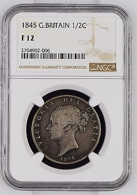 1845 NGC F12 Great Britain Silver 1/2 (Half) Crown - KM# 740