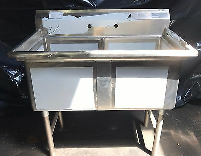 "Advance Tabco Two (2) Compartment 14"" Deep Stainless Steel Sink # FC-2-1818"